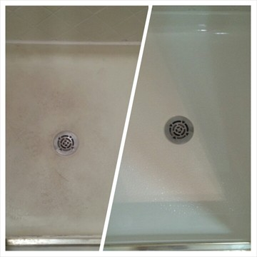 Fiberglass shower pan before and after being refinished.