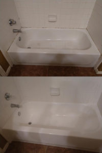 Tile Surround Before and After Deep Cleaning
