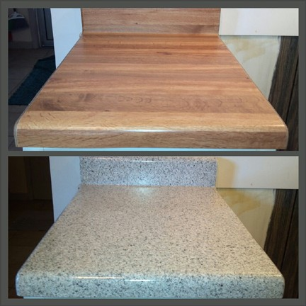 Close-up of a Butcher Block kitchen countertop refinished in MultiSpec to give a granite look!