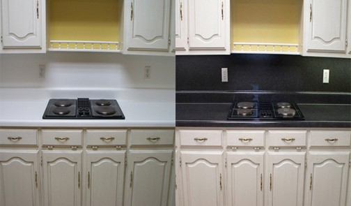 Formica kitchen countertops refinished in MultiSpec to give a granite look!