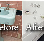 Porcelain Tub, Sink, and Wall Tile