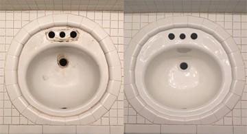 Porcelain Sink Set in Tile