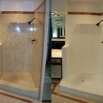 Cultured Marble Shower Before and After Refinishing