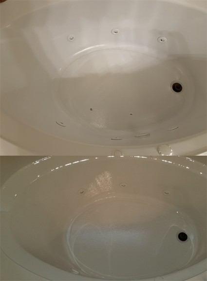Acrylic bathtub before and after refinishing